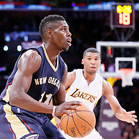 07 December 2014: New Orleans Pelicans guard Jrue Holiday (11) takes a jump shot during the New Orleans Pelicans 104-87 victory over the Los Angeles Lakers, at the Staples Center, Los Angeles, California, USA.