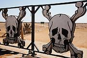 The entrance gate to the Skeleton Coast National Park, Skeleton Coast, Namibia, Africa