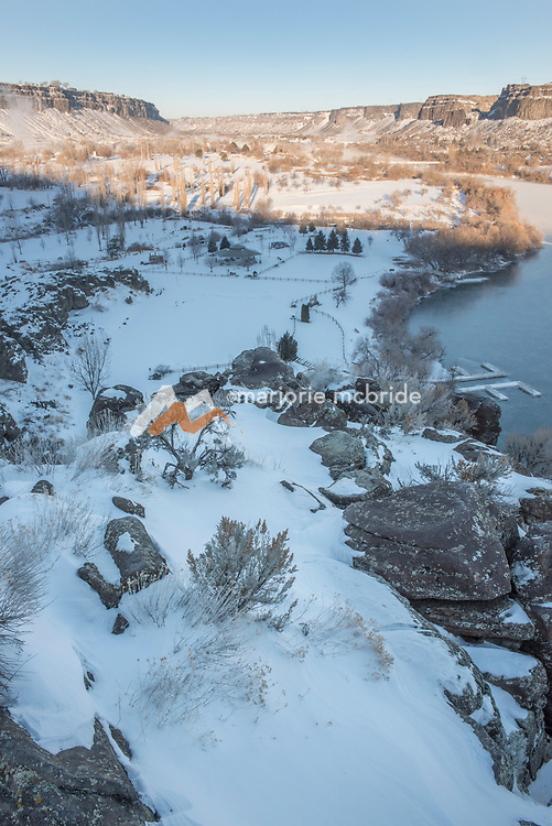 Landscape image from above Centennial Park in the Snake River Canyon  during winter Twin Falls, Idaho.