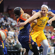 UNCASVILLE, CONNECTICUT- JUNE 5:  Marissa Coleman #25 of the Indiana Fever commits an offensive foul on Jasmine Thomas #5 of the Connecticut Sun during the Indiana Fever Vs Connecticut Sun, WNBA regular season game at Mohegan Sun Arena on June 3, 2016 in Uncasville, Connecticut. (Photo by Tim Clayton/Corbis via Getty Images)