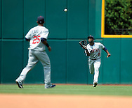 Denard Span of Minnesota makes a running catch..The Minnesota Twins defeated the Cleveland Indians 4-2 on Sunday, July 27, 2008 at Progressive Field in Cleveland.