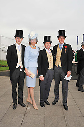 Left to right, ALEXANDER WARREN, SIR JOHN & LADY CAROLYN WARREN and JAKE WARREN at the 2012 Investec sponsored Derby at Epsom Racecourse, Epsom, Surrey on 2nd June 2012.