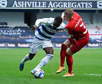 Queens Park Rangers' Bright Osayi-Samuel under pressure from Birmingham City's Kristian Pedersen<br /> <br /> Photographer Stephanie Meek/CameraSport<br /> <br /> The EFL Sky Bet Championship - Queens Park Rangers v Birmingham City - Saturday 24th October 2020 - Loftus Road - Queens Park Rangers<br /> <br /> World Copyright © 2020 CameraSport. All rights reserved. 43 Linden Ave. Countesthorpe. Leicester. England. LE8 5PG - Tel: +44 (0) 116 277 4147 - admin@camerasport.com - www.camerasport.com