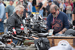 Bill Page (right) on the Motorcycle Cannonball coast to coast vintage run. Stage 13 (254 miles) Kalispell, MT to Spokane, WA. Friday September 21, 2018. Photography ©2018 Michael Lichter.