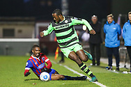 Forest Green Rovers Shamir Mullings(18) skips past a challenge from Dagenham's Andre Boucaud(17) during the Vanarama National League first leg play off match between Dagenham and Redbridge and Forest Green Rovers at the London Borough of Barking and Dagenham Stadium, London, England on 4 May 2017. Photo by Shane Healey.