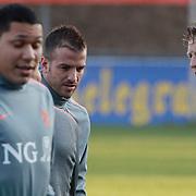 NLD/Katwijk/20110321 - Training Nederlandse Elftal Hongarije - NLD, Raphael van der Vaart en Dirk Kuyt