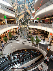 Interior of new futuristic architecture  of MyZeil shopping mall in Frankfurt Germany