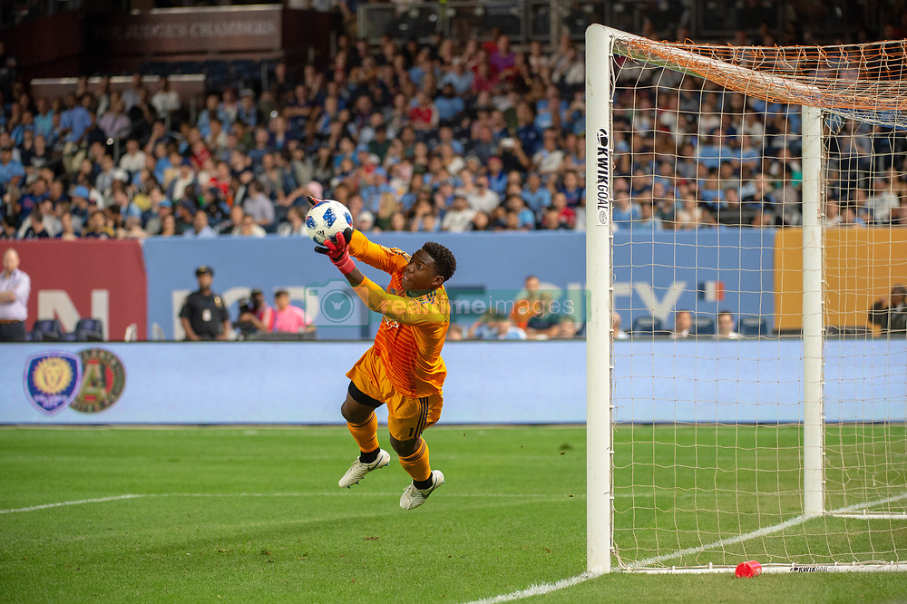 August 22, 2018 - Bronx, New York, U.S. - New York City goalkeeper SEAN JOHNSON (1) makes a save on a free kick during the second half of a regular season match at Yankee Stadium. New York City FC tie the New York Red Bulls 1 to 1. (Credit Image: © Mark Smith via ZUMA Wire)