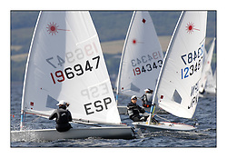 Perfect conditions at day 4 of the World Laser Radial Youth Championships, Largs, Scotland...Coro Leveque Patricia ESP 196947 and Manami Doi JPN 123487..317 Youth Sailors from 42 different nations compete in the World and European Laser Radial Youth Champiponship from the 17-25 July 2010...The Laser Radial World Championships take place every year. This is the first time they have been held in Scotland and are part of the initiaitve to bring key world class events to Britain in the lead up to the 2012 Olympic Games. ..The Laser is the world's most popular singlehanded sailing dinghy and is sailed and raced worldwide. ..Further media information from .laserworlds@gmail.com.event press officer mobile +44 7866 571932 and +44 1475 675129 .