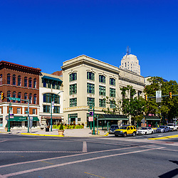 Reading, PA, USA - September 19, 2020: A view of the intersection of Penn Street and 5th Street in downtown Reading, Berks County, PA.