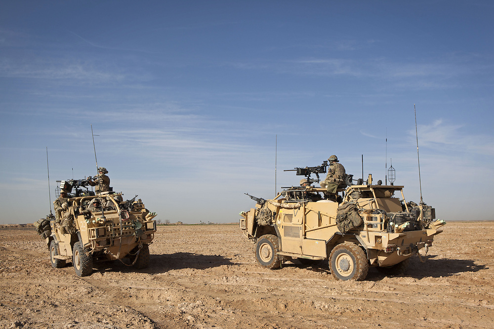 The BRF ( Brigade Reconnaissance Force) specialises in reconnaissance and strike operations behind enemy lines. Traveling in all terrain vehicles such as Jackals and on occasions Warthogs the unit travels with all the supplies such as food, water and ammunition required to survive and fight unsupported for extended periods of time. Helmand Province, Southern Afghanistan on the 15th of March 2011.