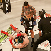 HOLLYWOOD, FL - JUNE 26: Famez stands over a knocked out Paul Teague during the Bare Knuckle Fighting Championships at the Seminole Hard Rock & Casino on June 26, 2021 in Hollywood, Florida. (Photo by Alex Menendez/Getty Images) *** Local Caption *** Famez; Paul Teague