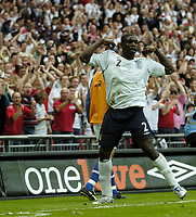 Photo: Jonathan Butler.<br /> England v Israel. UEFA European Championships Qualifying. 08/09/2007.<br /> Micah Richards of England celebrates after scoring.