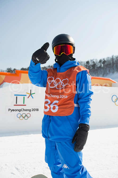 Minsik Lee, Korea, during the snowboard slopestyle practice on the 8th February 2018 at Phoenix Snow Park for the Pyeongchang 2018 Winter Olympics in South Korea
