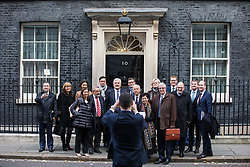 © Licensed to London News Pictures. 13/11/2017. London, UK. European business leaders stand for a photograph outside 10 Downing Street after a meeting with Prime Minister Theresa May in which they will voice their concerns about the future of UK-EU trade. Photo credit: Rob Pinney/LNP