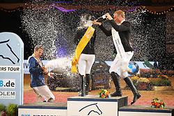 Podium DKB Tour, Meyer Janne Friederike, (GER), Ahlmann Christian, (GER), Will David, (GER)<br /> DKB-Riders Tour<br /> Grand Prix Kreditbank Jumping München 2015<br /> © Hippo Foto - Stefan Lafrentz