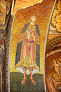 The 11th century Roman Byzantine Church of the Holy Saviour in Chora and its mosaic of Saint George. Endowed between 1315-1321  by the powerful Byzantine statesman and humanist Theodore Metochites. Kariye Museum, Istanbul .<br /> <br /> If you prefer to buy from our ALAMY PHOTO LIBRARY  Collection visit : https://www.alamy.com/portfolio/paul-williams-funkystock/holy-saviour-chora-istanbul.html<br /> <br /> Visit our TURKEY PHOTO COLLECTIONS for more photos to download or buy as wall art prints https://funkystock.photoshelter.com/gallery-collection/3f-Pictures-of-Turkey-Turkey-Photos-Images-Fotos/C0000U.hJWkZxAbg