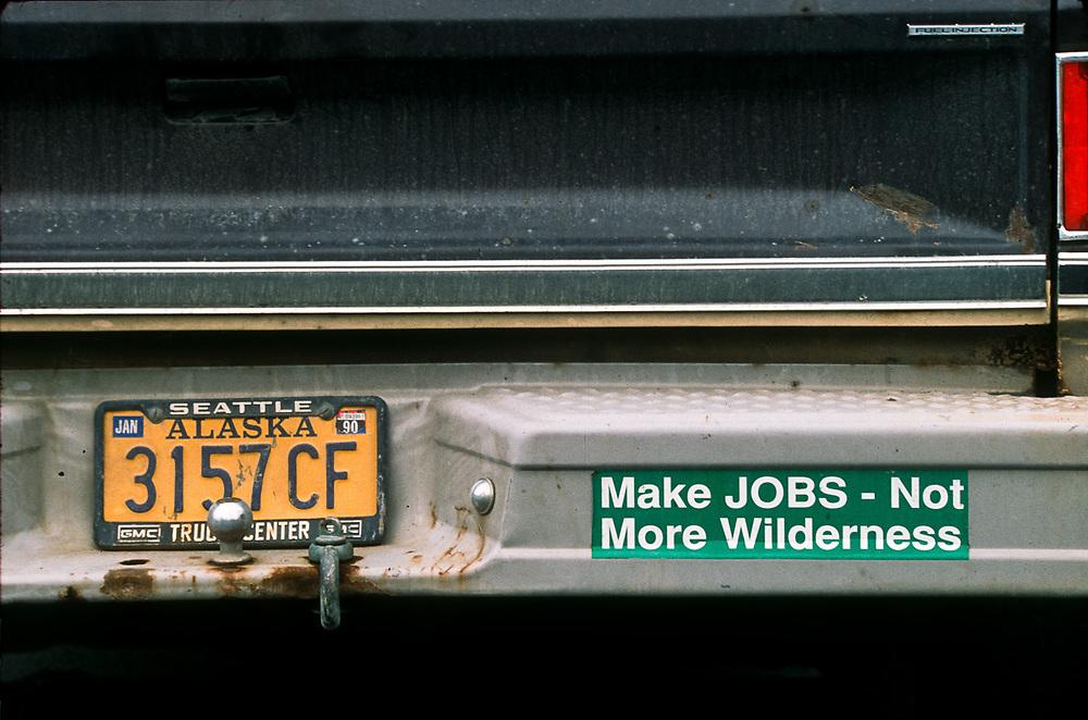 """""""Make Jobs-Not More Wilderness"""" protest bumper sticker, Alaska, USA"""