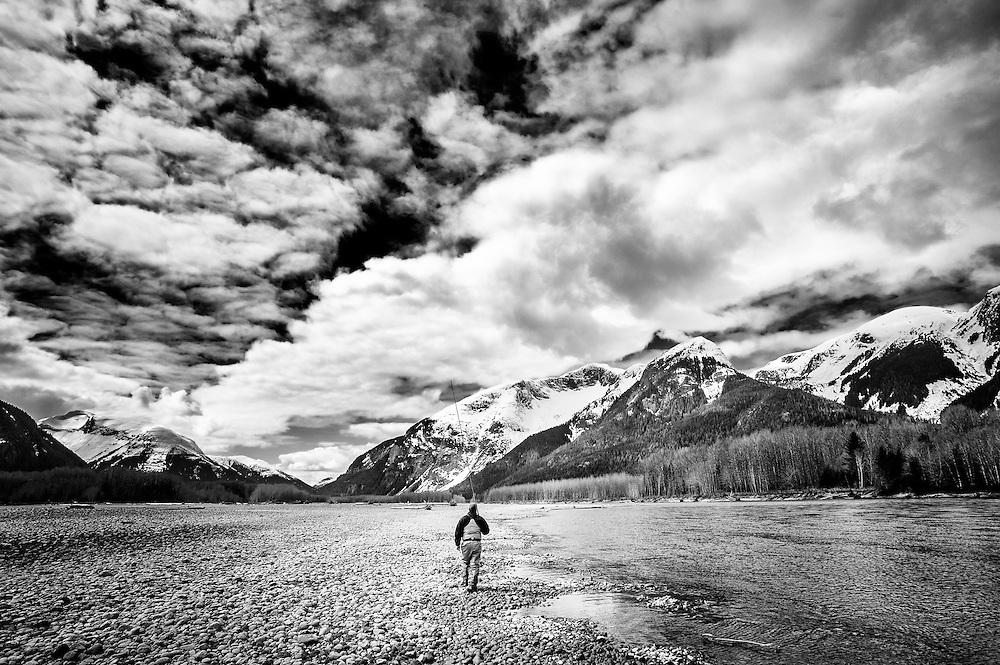 David Higman walks the shore of BC's Skeena River.