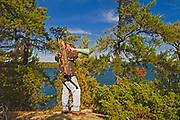 Bow hunter on Crow (Kakagi) Lake<br />Near Nestor Falls<br />Ontario<br />Canada