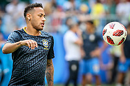 Neymar of Brazil warms up before the 2018 FIFA World Cup Russia, round of 16 football match between Brazil and Mexico on July 2, 2018 at Samara Arena in Samara, Russia - Photo Thiago Bernardes / FramePhoto / ProSportsImages / DPPI