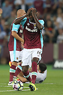 Pedro Mba Obiang of West Ham United reacts in frustration .UEFA Europa league, 1st play off round match, 2nd leg, West Ham Utd v Astra Giurgiu at the London Stadium, Queen Elizabeth Olympic Park in London on Thursday 25th August 2016.<br /> pic by John Patrick Fletcher, Andrew Orchard sports photography.