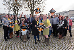 © Licensed to London News Pictures. 07/04/2019. Bristol, UK. MARY PAGE (right), Liberal Democrat candidate for the Bristol Mayoral election 2020, launches her campaign at the Arnolfini gallery with the support of WERA HOBHOUSE (left) Lib Dem MP for Bath. If elected, Mary's policies include tackling the city's pollution and campaigning to abolish the post of Bristol elected mayor for which she will have been elected. The earliest that the post of Bristol's elected mayor can be abolished by law will be 2022 following a referendum in Bristol.  Photo credit: Simon Chapman/LNP