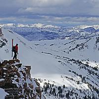 Backcountry skier Tom Jungst overlooks the Absaroka Range near Yellowstone National Park.