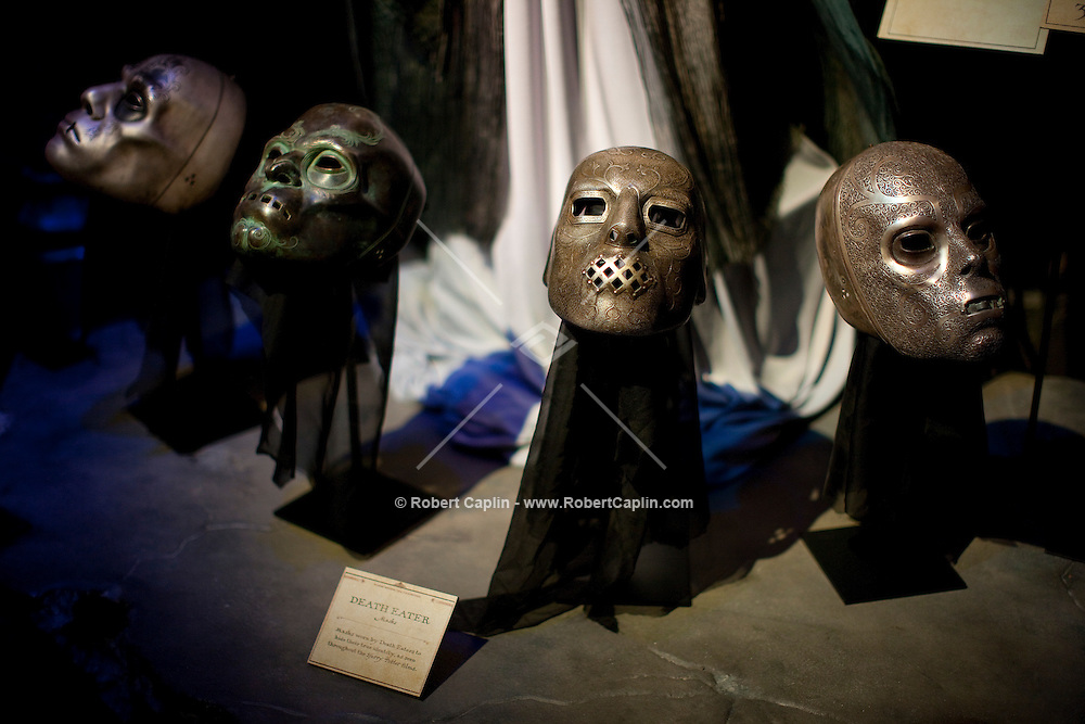 """Death Eaters masks at the """"Harry Potter"""" exhibition at Discovery Times in New York. ..Photo by Robert Caplin."""