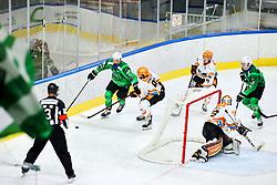 Gregor Koblar of HK SZ Olimpija vs Ramon Schnetzer of Black Wings Linz during ice hockey match between HK SZ Olimpija Ljubljana and Steinbach Black Wings Linz in bet-at-home ICE Hockey League, on September 26, 2021 in Hala Tivoli, Ljubljana, Slovenia. Photo by Morgen Kristan / Sportida