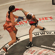 HOLLYWOOD, FL - JUNE 27: Pearl Gonzalez gets punched in the face by Charisa Sigala during the Bare Knuckle Fighting Championships at the Seminole Hard Rock & Casino on June 27, 2021 in Hollywood, Florida. (Photo by Alex Menendez/Getty Images) *** Local Caption *** Pearl Gonzalez; Charisa Sigala