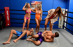 David Hawley, Georgia Crone, Che McSorley, Chloe Ferry and Josh Ritchie attending the Ex On The Beach Photocall, held at the Fight City Gym, London. PRESS ASSOCIATION Photo. Picture date: Tuesday June 20, 2017.