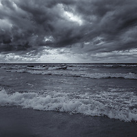 """""""Feel the Earth Move"""" mono<br /> <br /> A beautiful monochrome image of a very stormy Lake Michigan in the Upper Peninsula!"""