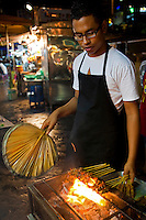 A hawker centre or food centre is the name given to open air food complexes in Singapore with many stalls that sell a variety of inexpensive local food.