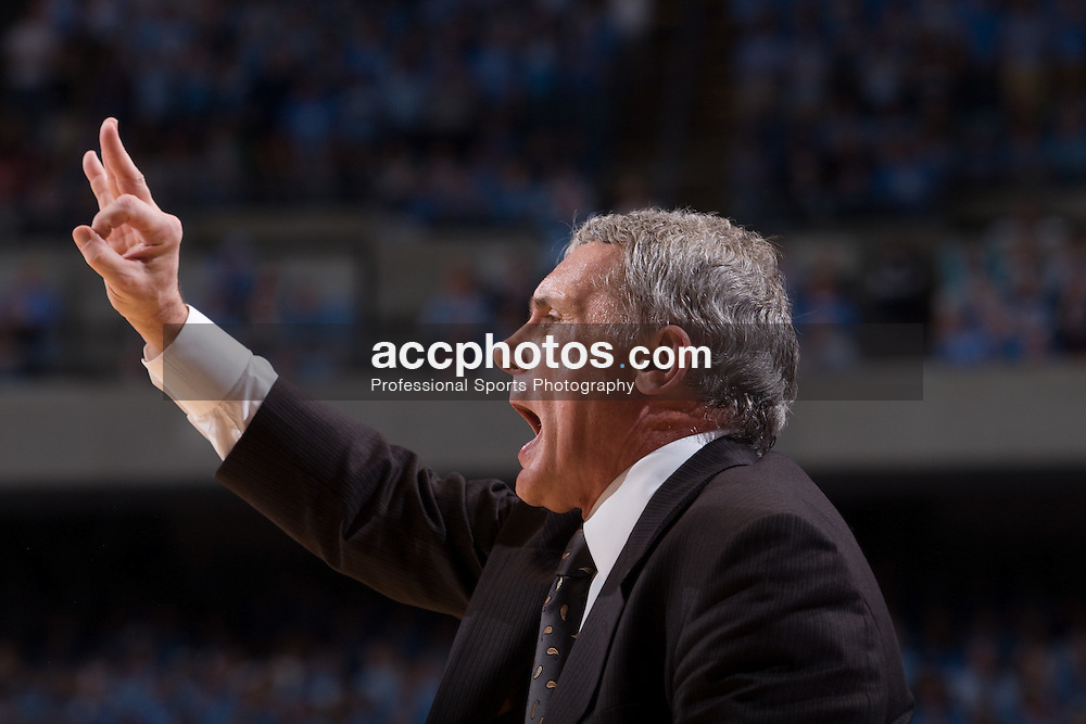 19 January 2008: Maryland Terrapins head coach Gary Williams during a 93-84 win over the North Carolina Tar Heels at the Dean Smith Center in Chapel Hill, NC.