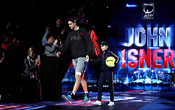 John Isner arrives prior to the start of his singles match during day six of the Nitto ATP Finals at The O2 Arena, London.