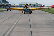 A Harvard is towed out - The Duxford Battle of Britain Air Show is a finale to the centenary of the Royal Air Force (RAF) with a celebration of 100 years of RAF history and a vision of its innovative future capability.