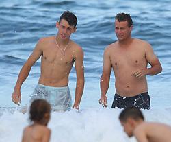 EXCLUSIVE: Lleyton Hewitt and young Australian tennis sensation Alex De Minaur pictured swimming at Coogee beach in Sydney. 07 Jan 2018 Pictured: Alex De Minaur; Lleyton Hewitt. Photo credit: KHAPGG / MEGA TheMegaAgency.com +1 888 505 6342