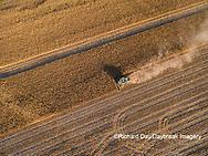 63801-08512 Corn Harvest, John Deere combine harvesting corn - aerial Marion Co. IL
