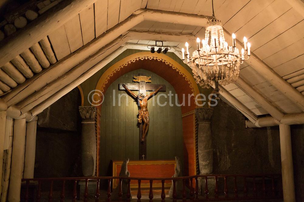 An interior of St. Krzyzas Chapel, a subterranean church 1km beneath ground in Wieliczka Salt Mine, on 24th September 2019, in Wieliczka, Krakow, Malopolska, Poland.