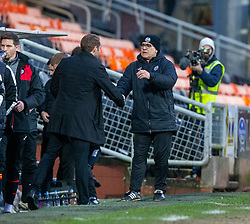 Dundee United's manager Robbie Neilson and Partick Thistle's manager Ian McColl at the end. Dundee United 1 v 1 Partick Thistle, Scottish Championship game played 7/3/2020 at Dundee United's stadium Tannadice Park.