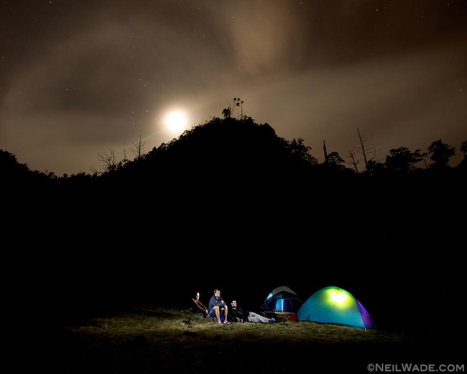 Our camp, high atop SongLuo Hu (???) another mountain lake near Yilan, Taiwan.