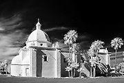 An infrared image of a historic church in Ajo, Arizona.