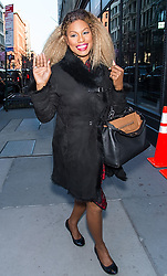 """Laverne Cox, Kandee Johnson and Zanna Roberts Rassi of Lifetime TV show """"Glam Masters"""" arrive at AOL Build Series in New York. 27 Feb 2018 Pictured: Laverne Cox. Photo credit: MEGA TheMegaAgency.com +1 888 505 6342"""