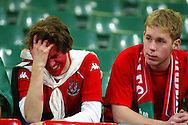 Welsh football supporters show their dissapointment after a Welsh football international at the Millennium Stadium in Cardiff
