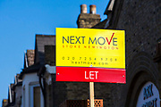 Next Move 'Let' sign outisde a property on Alkham Road, Stoke Newington, London, UK.