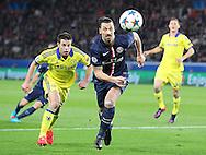 Paris Saint-Germain Zlatan Ibrahimović (vice captain) chases the ball during the Champions League match between Paris Saint-Germain and Chelsea at Parc des Princes, Paris, France on 17 February 2015. Photo by Phil Duncan.