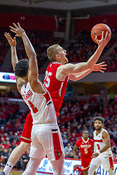 NORMAL, IL - February 16: Nate Kennell slips by defender Zach Copeland during a college basketball game between the ISU Redbirds and the Bradley Braves on February 16 2019 at Redbird Arena in Normal, IL. (Photo by Alan Look)