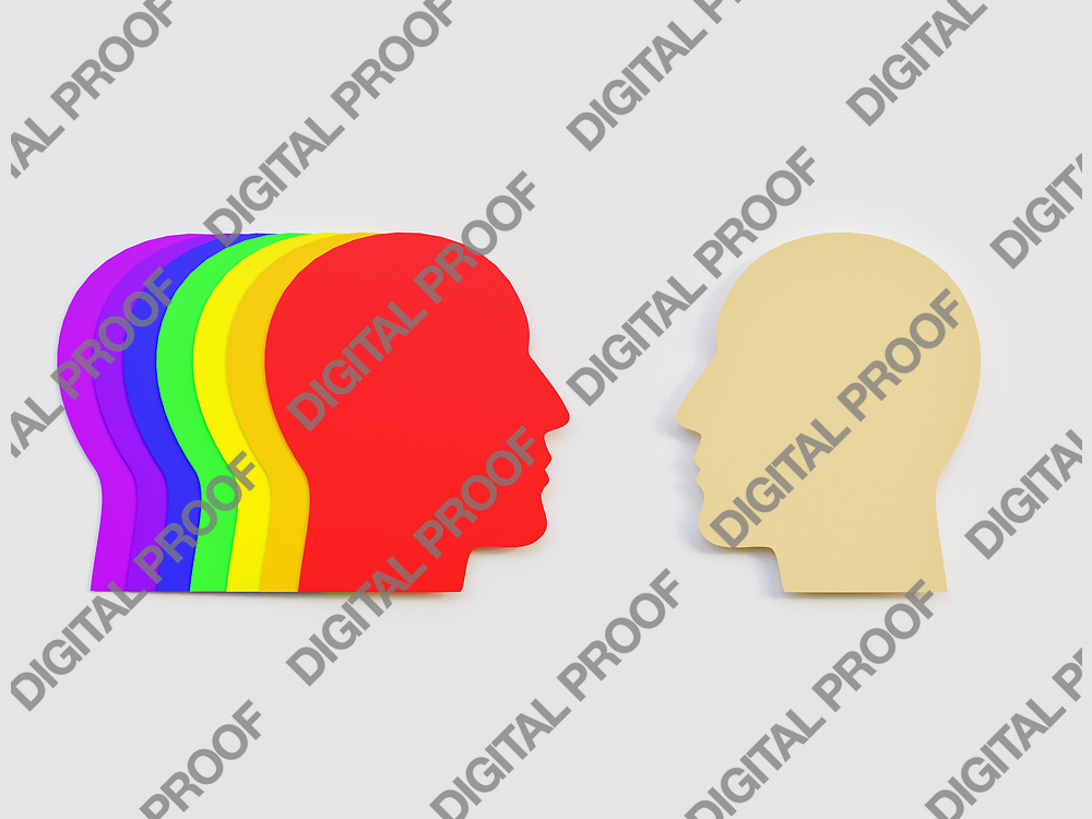 Men Facing several men head with rainbow colors in association with LGBT community Minimalism Cut Paper Art - 3D Rendering Concept