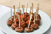 Appetizer, plate with meatballs, closeup